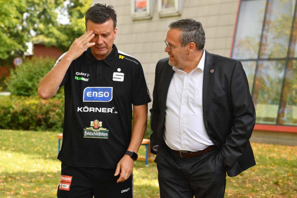 Alexander Waibl (links) im Gespräch mit dem Vorstandsvorsitzenden Jörg Dittrich.