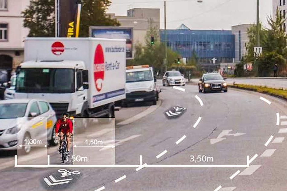 Vorschlag des VCD: So könnte es auf den Straßen in der Testzone aussehen.