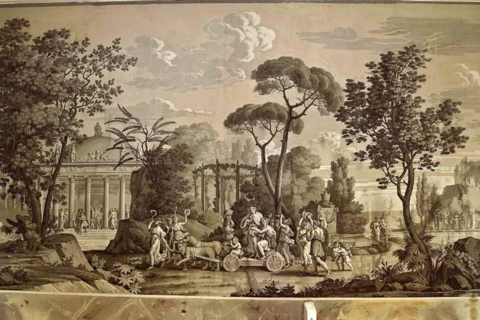Ein zweiter Saal ist mit Pariser Tapeten aus dem Jahr 1828 ausgestaltet.