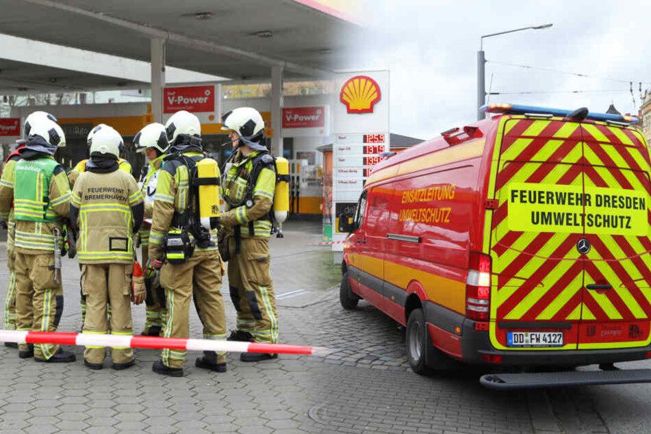 Feuerwehr-Einsatz an Shell-Tankstelle auf der Leipziger: Gas ausgetreten