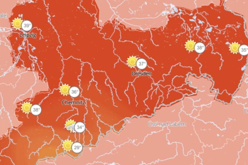 Die Wetterkarte für Mittwoch: Die Temperaturen sollen zum Beispiel in Leipzig auf 39 Grad klettern.