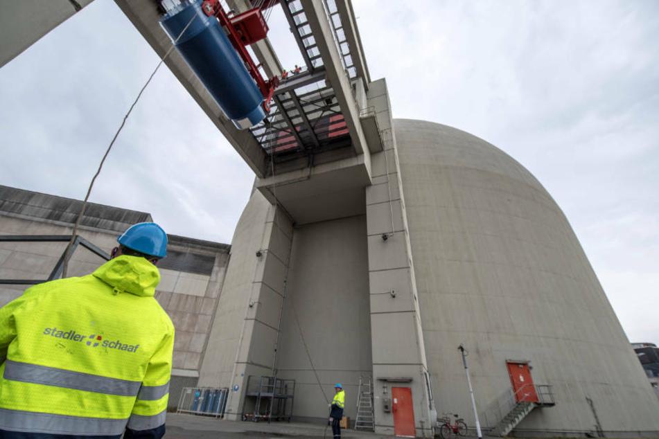 Mit Hilfe eines Schwerlastkranes heben Arbeiter einen blauen Castorbehälter in das Innere eines der Reaktorblöcke des Atomkraftwerk Biblis. (Archivbild)