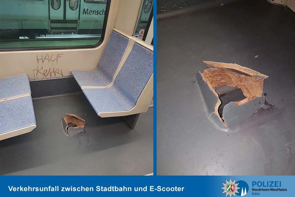 Nach der Kollision einer Straßenbahn mit einem E-Scooter hatte die Bahn ein Loch im Boden.