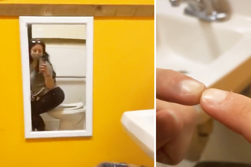 Woman finds suspiciously placed mirror in store bathroom