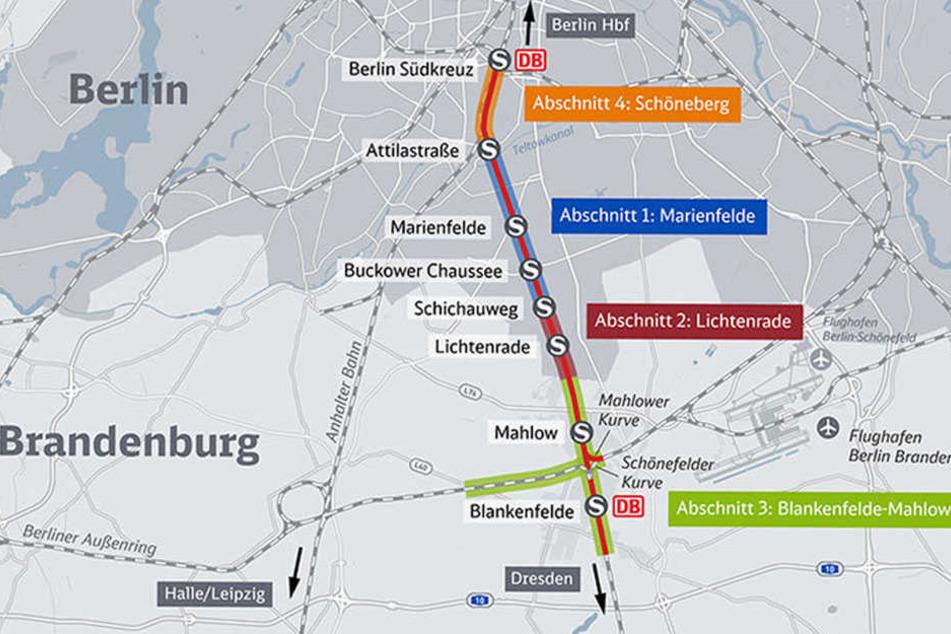 """Bisher müssen ICE, IC, EC, RE und RB auf die """"Anhalter Bahn"""" ausweichen. Längere Fahrzeiten sind die Folgen auf den Weg nach Dresden oder Prag."""