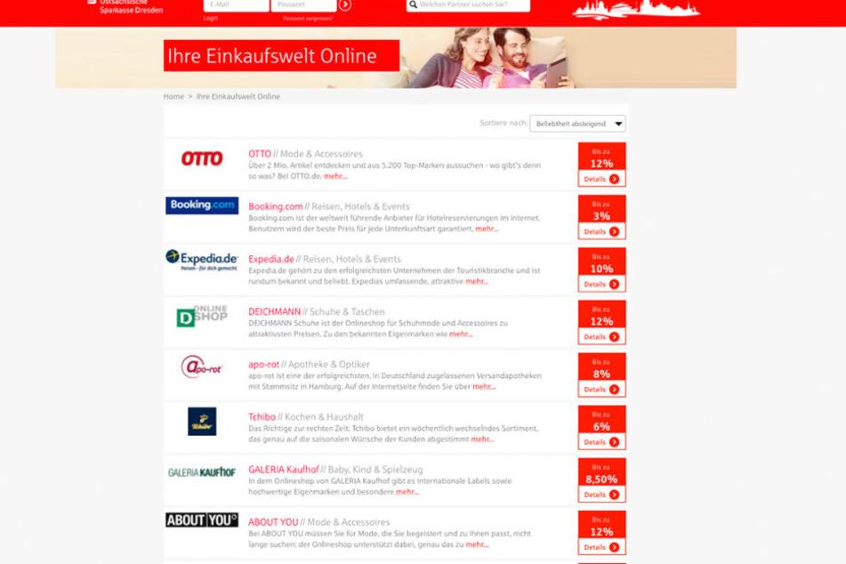 In der Sparkassen-Einkaufswelt seht Ihr genau, welche Händler online an der Aktion teilnehmen.