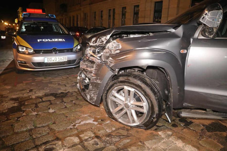 Die Polizei konnte den Pick-Up schließlich an der Ecke Robert-Matzker-Straße/Altpieschen stoppen.