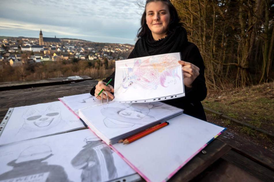 In ihrer Freizeit zeichnet die junge Auszubildende gern. Außerdem ist sie im Kegelverein angemeldet.