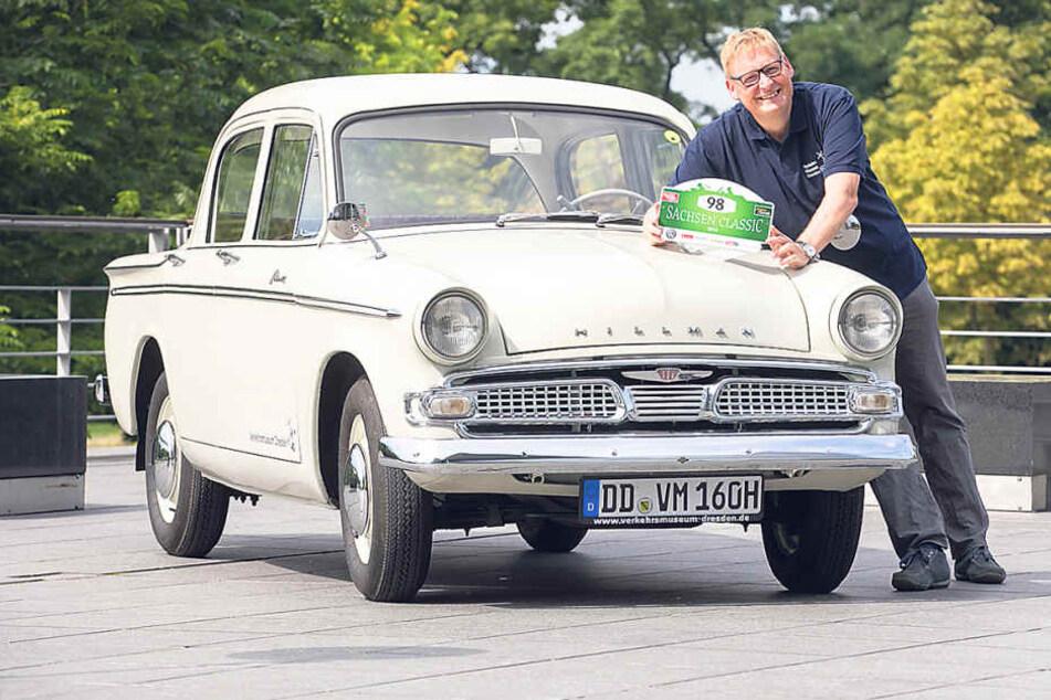 Der Direktor des Dresdner Verkehrsmuseums, Joachim Breuninger (48), fährt in  einem Hillman Minx Bj. 1960 bei der Sachsen Classic mit.