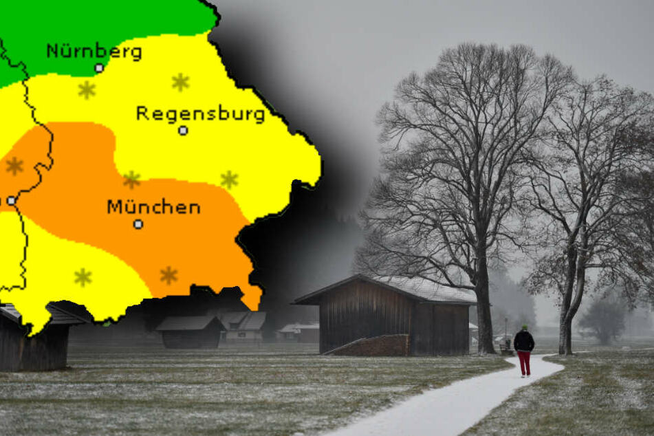 Ab Montag fällt in Bayern Schnee. (Bildmontage)