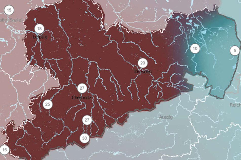 Am Mittwoch kommt es in ganz Sachsen zu starken Regenfällen.