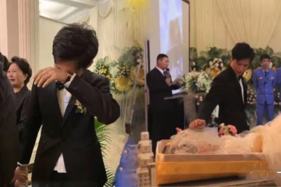 Trauernder Mann heiratet Leiche im Brautkleid