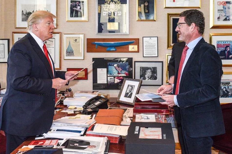 Bild-Herausgeber Kai Diekmann (re.) führte das Interview mit Donald Trump.