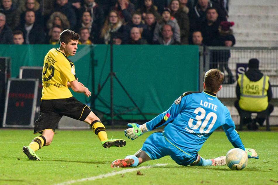 Angreifer Christian Pulisic erzielt die wichtige 1:0-Führung für den BVB