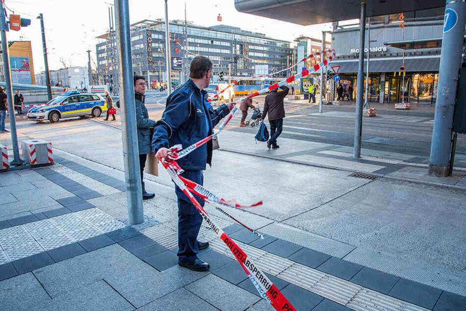 Die Polizei ließ am Nachmittag in Chemnitz das Gelände rund um McDonald's absperren.