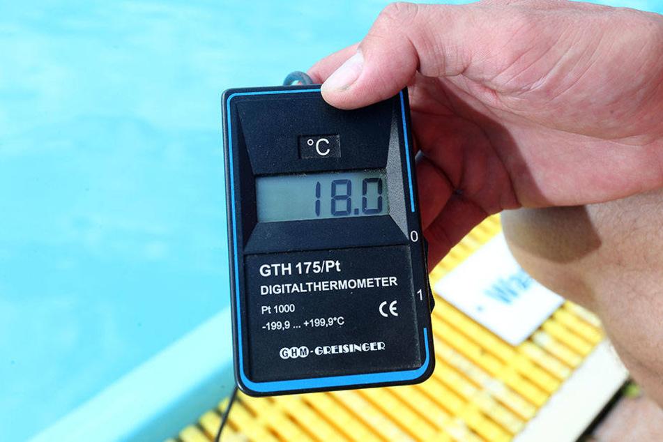 In Gornau beträgt die Wassertemperatur derzeit 18 Grad Celsius.