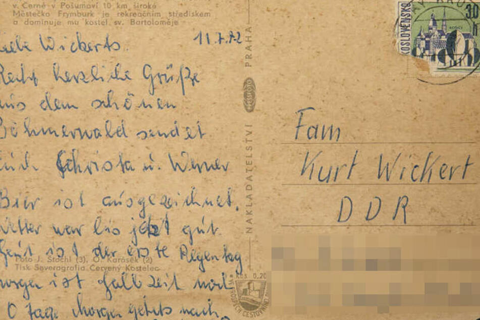 War fast ein halbes Jahrzehnt auf dem Postweg: Die Urlaubskarte von Christa und Werner an Familie Wickert aus Pirna.