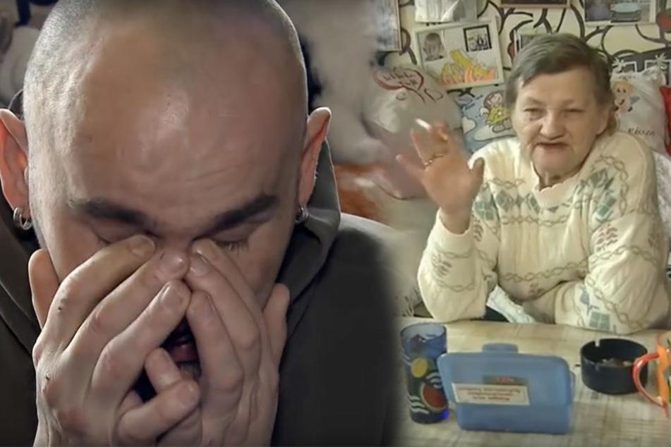 """Frust und Tränen bei Familie Ritter aus Köthen. Mutter Karin (r.) will, dass ihr an Leberzirrhose erkrankter Sohn Norman (l.) auszieht. """"Der schlägt mich, wenn er betrunken ist"""", behauptet die 63-Jährige."""