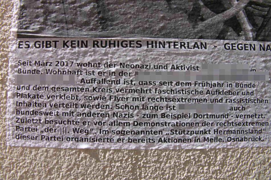 Angeblich wurde der junge Mann schon im Landkreis Osnabrück als Nazi geoutet.