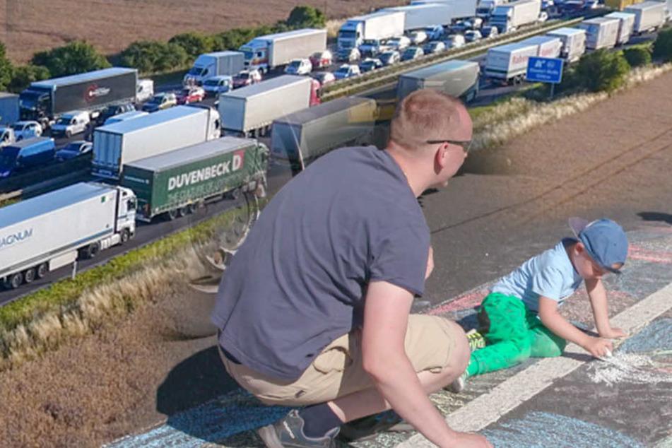 Kinder malen auf der Autobahn: Skurrile Szenen im Megastau auf der A4