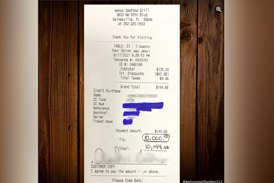 Staff at Florida restaurant get tip of a lifetime from an overly-appreciative diner