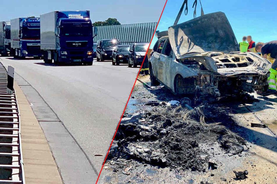 BMW fängt auf A17 plötzlich Feuer: Insassen können sich in letzter Sekunde retten