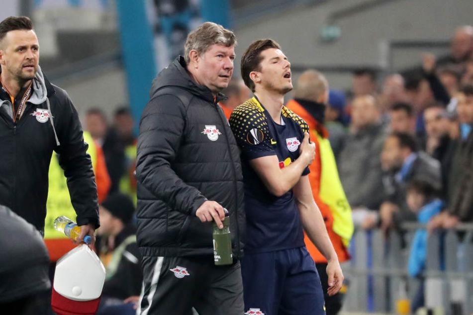 Nach gut einer Stunde musste Marcel Sabitzer in Marseille ausgewechselt werden. Der 24-Jährige hatte sich die Schulter ausgekugelt und fällt mindestens in Bremen aus.