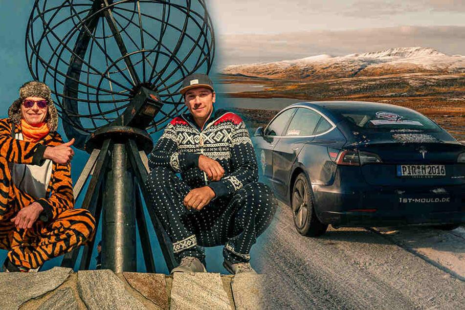Mit dem Tesla zum Nordkap: Diese beiden Sachsen haben es geschafft