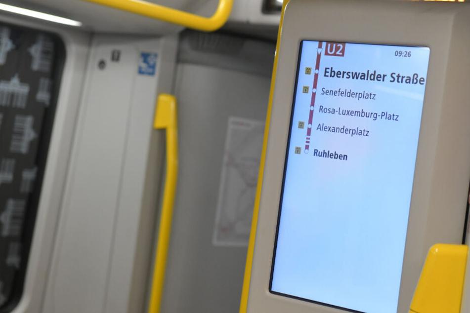 Eine U-Bahn steht im Bahnhof Senefelder Platz.