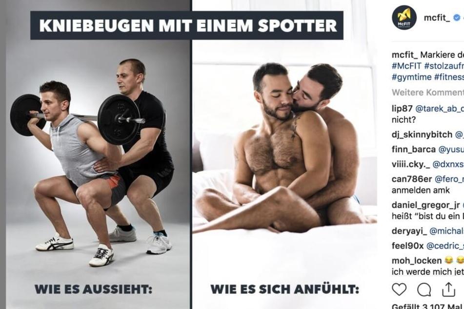Ein Spotter (Unterstützer beim Sport) hilft bei Kniebeugen. Dies soll sich ähnlich anfühlen wie homosexuelle Liebe, meint McFIT.
