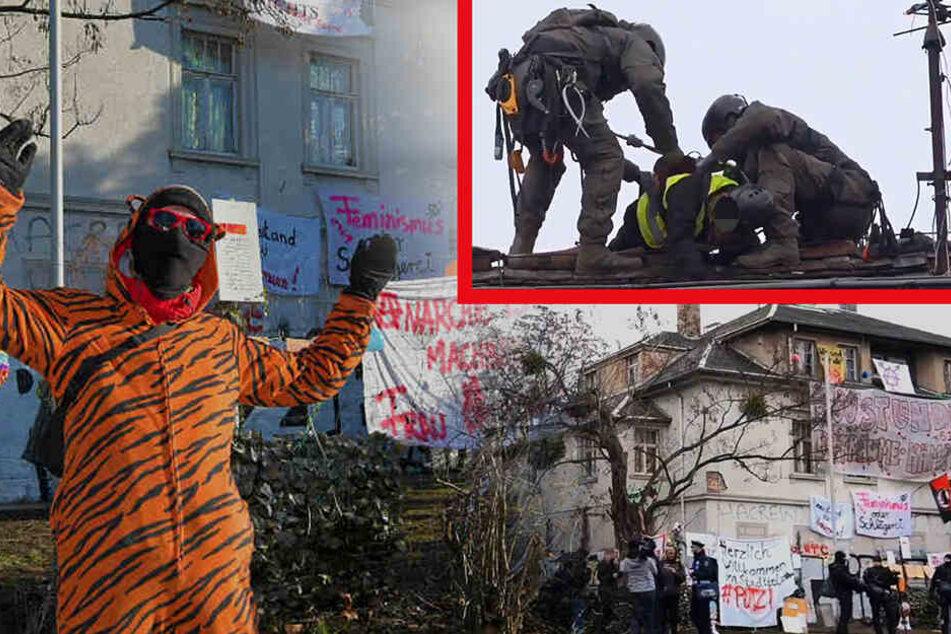 Hausbesetzung auf der Königsbrücker: SEK holt Aktivisten vom Dach!
