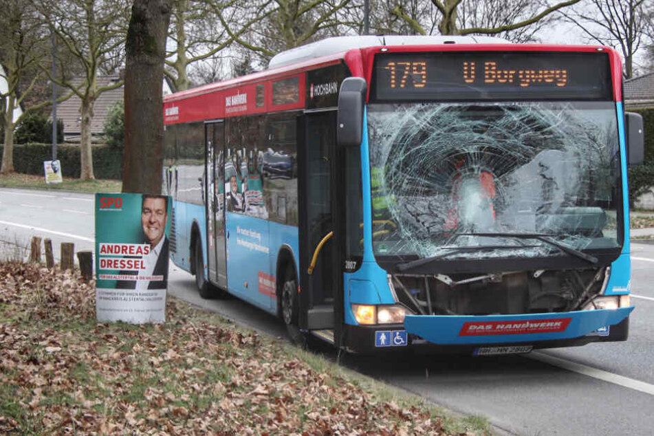 Die Frontscheibe des Busses zersplitterte.