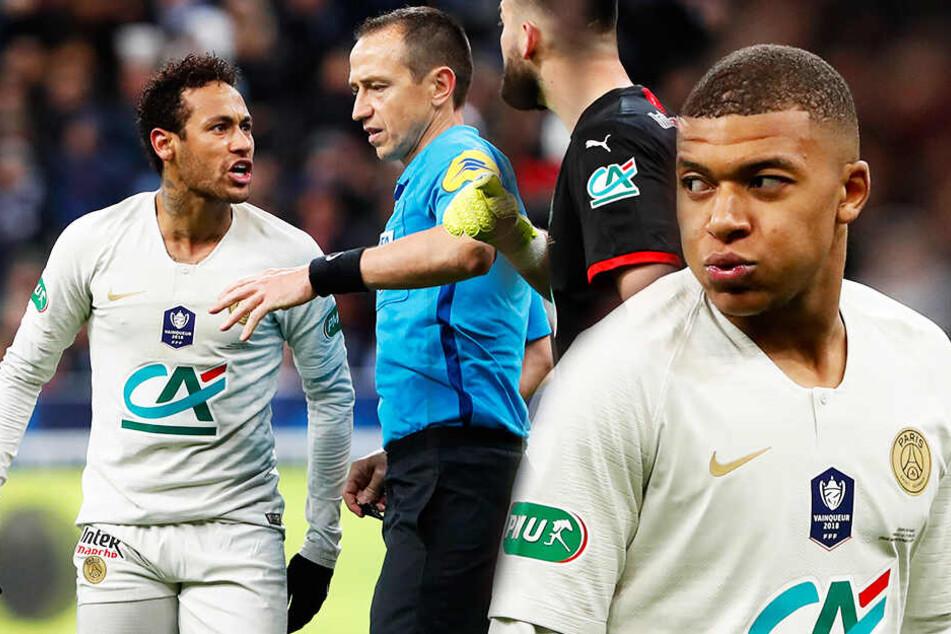 Neymar (l.) und Kylian Mbappé (r.) sorgten mit ihren Ausrastern für Gesprächsstoff.