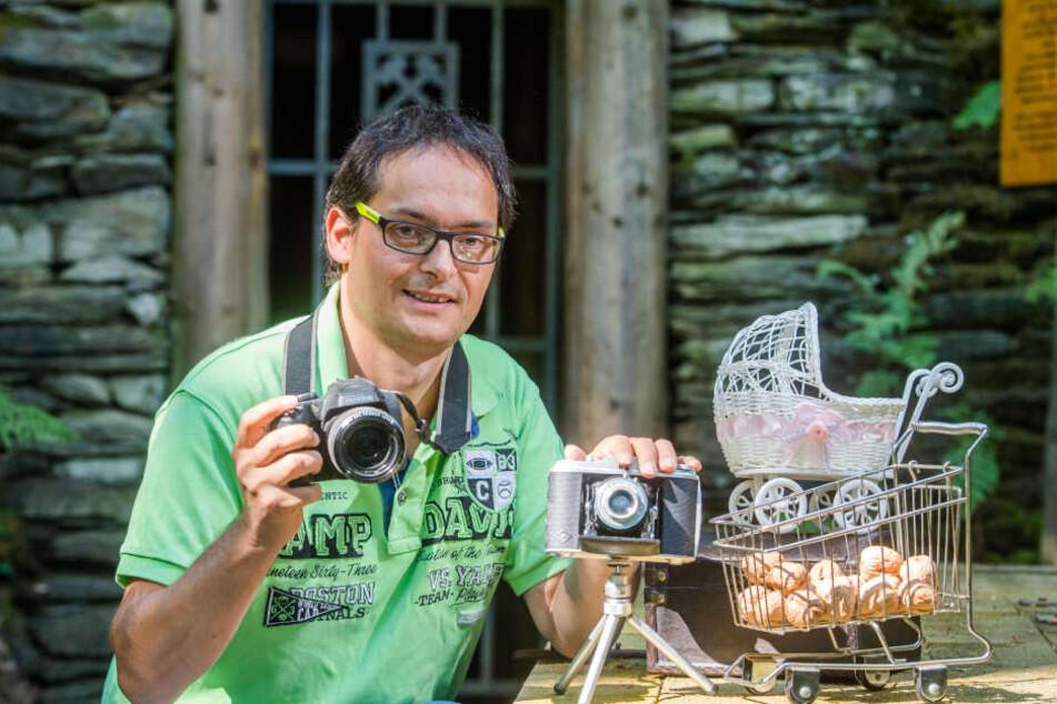 Hobby-Fotograf Mike Gutschalk (45) schafft sich mithilfe von Requisiten stets neue Fotomotive.