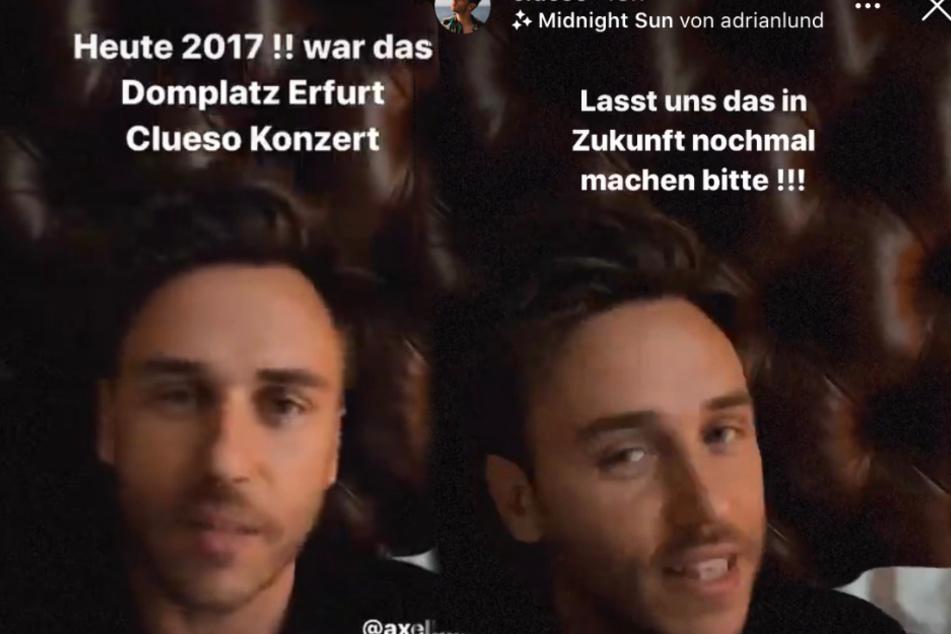 In seiner Story spricht Sänger Clueso (40) von seinem vergangenen Konzert in Erfurt und möchte es nochmal wiederholen.