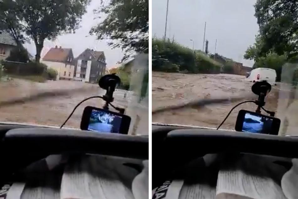 Hier war er noch bei bester Laune: Zufrieden lenkte der Twitter-Nutzer sein Auto durch das Hochwasser.
