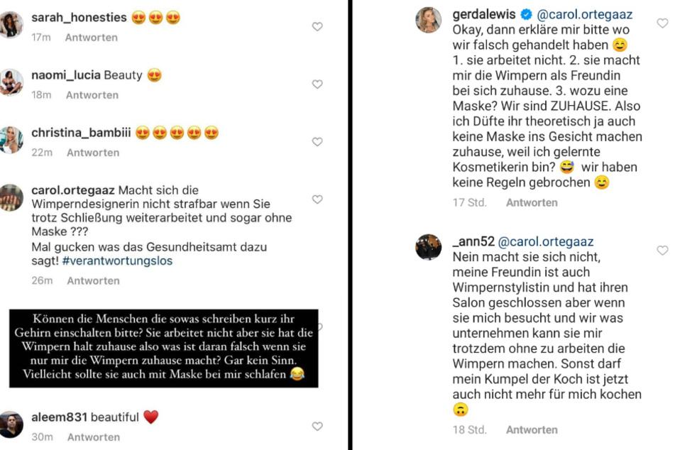 In der Kommentarspalte argumentiert Gerda Lewis mit einer Userin, die den Beauty-Eingriff für illegal hält. (Bildmontage)