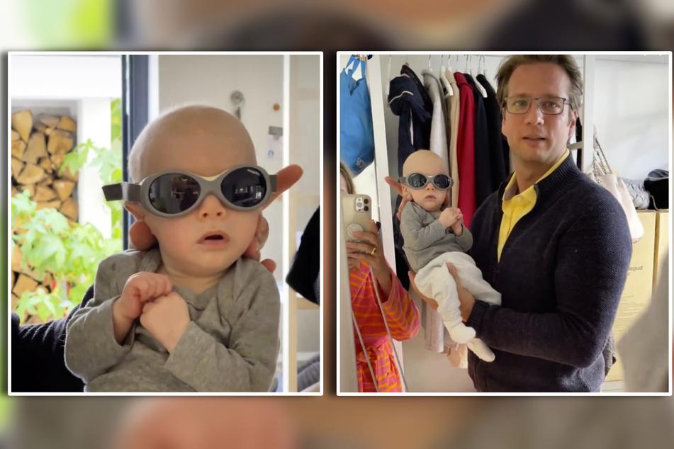 Huch? Plötzlich wurde es etwas dunkler. Tanja Szewczenkos (44) Sohn Luis schien das nicht zu stören.