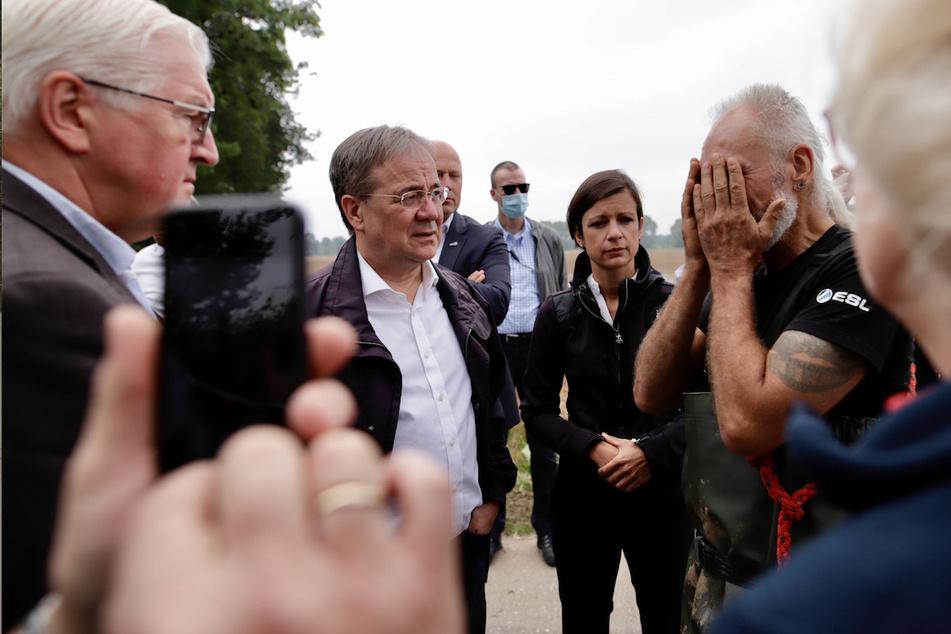 Der Bundespräsident sprach mit Anwohnern in Erftstadt.