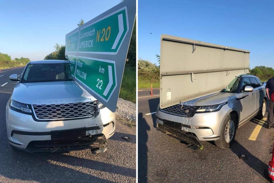 Das Schild schlug genau über dem Beifahrersitz ein. Wie durch ein Wunder gab es bei dem Unfall dennoch keine Verletzten.