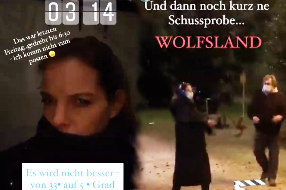"""Yvonne Catterfeld mitten in der Nacht bei Dreharbeiten zu neuen Film der Krimireihe """"Wolfsland""""."""