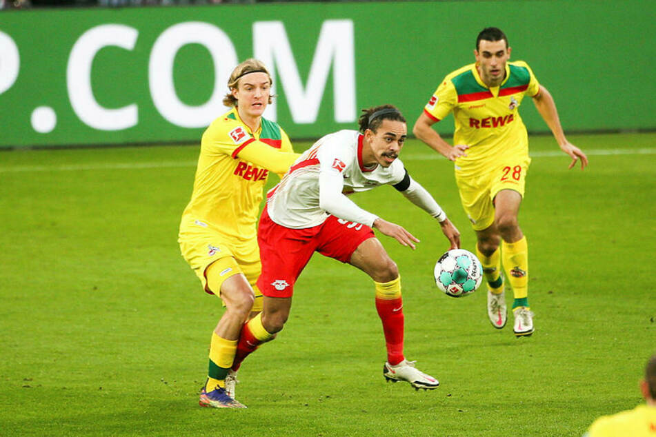 Yussuf Poulsen (M., hier gegen Kölns Sebastiaan Bornauw) kam offensiv nicht zur Entfaltung, wurde in der Pause durch Emil Forsberg ersetzt.