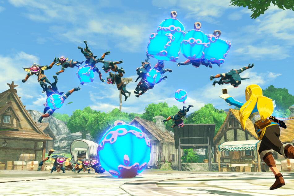 Auch Prinzessin Zelda beteiligt sich aktiv am Kampfgeschehen. Die Shiekah-Module wie Bombe oder Stase sind nützliche Angriffsoptionen.
