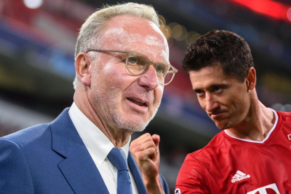 Bayern-Chef Karl-Heinz Rummenigge (64, l.) hält Robert Lewandowski (32) für den vielleicht besten Profi, den er erlebt hat. (Bildmontage)