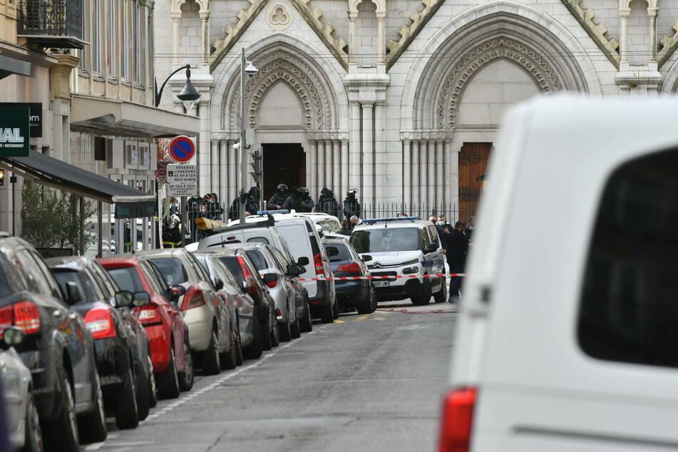 Law enforcement at the scene of the attack, Nice's Basilica of Notre Dame.