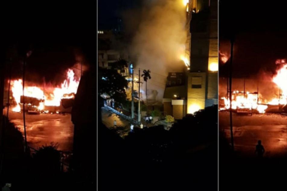 Zeugen posteten Aufnahmen des Brandes auf Twitter.