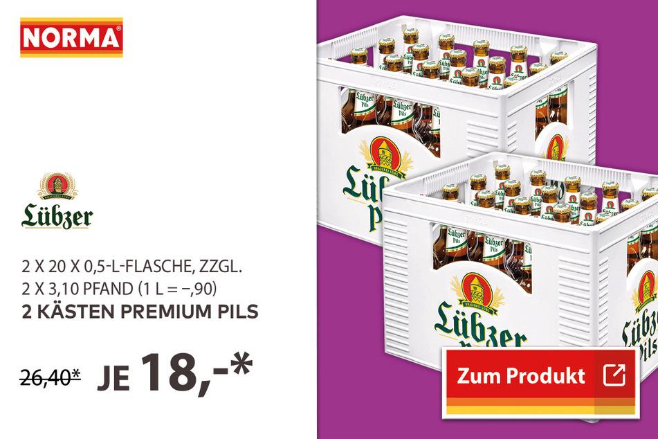 2 Kästen Premium Pils für 18 Euro.