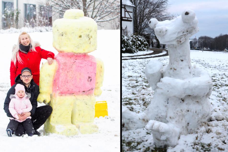 """Schnee-Kunst in Sachsen: """"Ice Age""""-Figuren und LEGO-Männchen nachgebaut"""