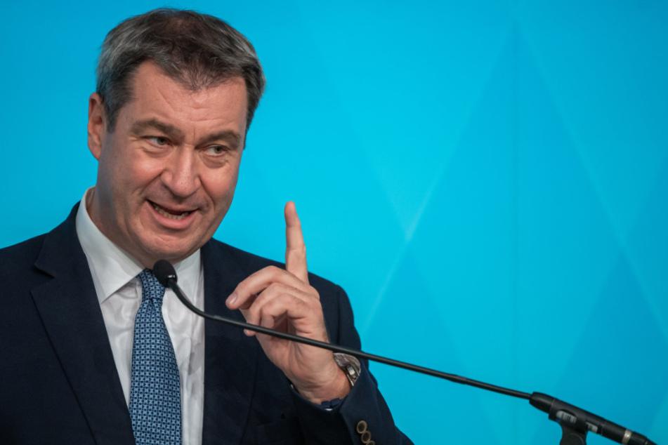 Markus Söder (CSU), Ministerpräsident von Bayern, spricht auf der Pressekonferenz im Anschluss an die Kabinettssitzung der Bayerischen Staatsregierung.
