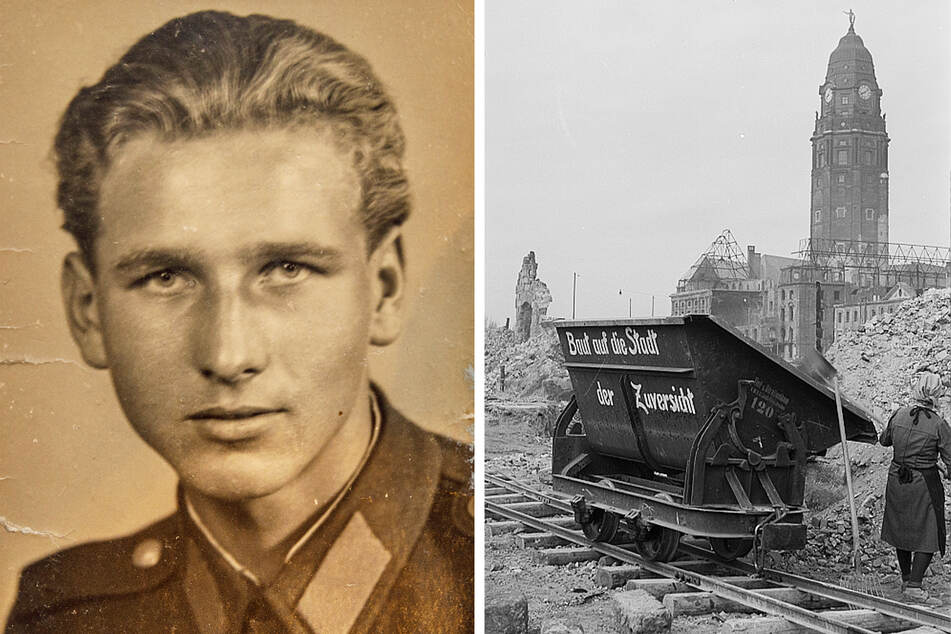 Als junger Mann ging Hans-Jürgen Werner zu den Trümmerbahnen. 1947 war die Enttrümmerung der Innenstadt im vollen Gange.